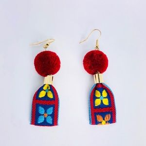 New! Red Bohemian Flower Pom Pom Earrings